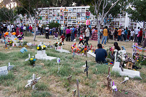 Ghosts in Mexican culture - Day of the Dead at a Mexican cemetery.