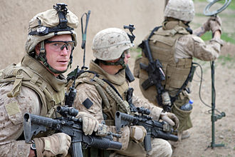 3rd Battalion, 8th Marines - 3rd Battalion, 8th Marine Regiment conduct a local security patrol in the abandoned village, Afghanistan, on April 12, 2009