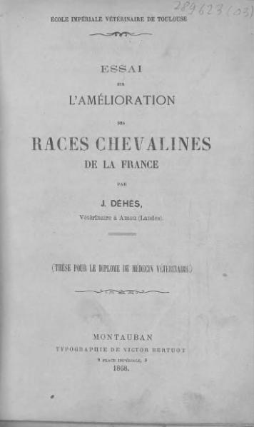 File:Dehes - Essai sur l'amélioration des races chevalines de la France.djvu