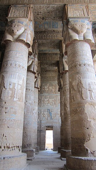 Hathor - Hypostyle hall of the Temple of Hathor at Dendera, first century AD