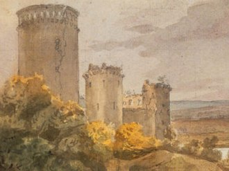 Enguerrand VII, Lord of Coucy - Chateau of Coucy showing donjon tower, watercolor, ca 1820 (Bibliothèque Nationale, Paris)