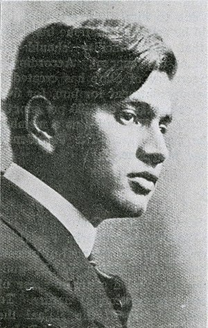 Portrait of Dhan Gopal Mukerji printed in April 1916 issue of The Hindusthanee Student.