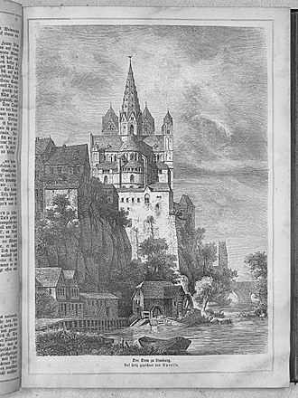 Die Gartenlaube - Cathedral of Limburg: a typical full-page drawing, copied from earlier artwork, in 1863.