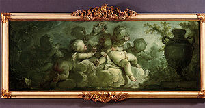 "Dirk van der Aa - Dirk van der Aa (1731-1809): Spielende Putten auf Wolken (Playing Putti on Clouds). Signed and dated ""D. Vander Aa/1773"". Oil on canvas, 119 x 45 cm"