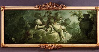 """Dirk van der Aa - Dirk van der Aa (1731-1809): Spielende Putten auf Wolken (Playing Putti on Clouds). Signed and dated """"D. Vander Aa/1773"""". Oil on canvas, 119 x 45 cm"""
