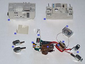 Disassembled 2pole RCD device Numbered.jpg
