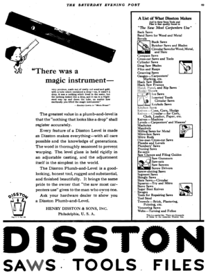 Disston Saw Works - Image: Disston advert in Saturday Evening Post 1921