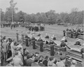 Distance view of President Truman attending the burial of twenty soldiers at Arlington National Cemetery. These... - NARA - 199683.tif
