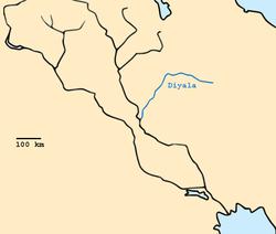 מיקומו של נהר דיאלא