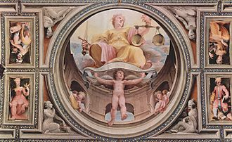 Justice - Allegorical fresco cycle (cardinal virtues) by Renaissance painter Domenico di Pace Beccafumi from the Palazzo Pubblico in Siena, scene: ''Justitia''