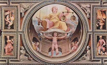 Allegorical fresco cycle (cardinal virtues) by Renaissance painter Domenico di Pace Beccafumi from the Palazzo Pubblico in Siena, scene: ''Justitia''