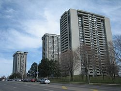 Large apartment towers are located on the major avenues in Don Valley Village