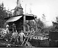 Donkey engine and crew, Wynooche Timber Company, probably in Grays Harbor County, ca 1921 (KINSEY 1519).jpeg