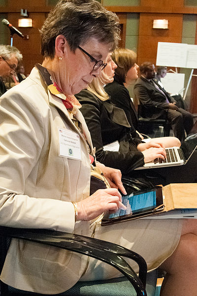 File:Dr. Catherine Woteki takes notes during the second day of the two day G-8 International Conference on Open Data for Agriculture in Washington, D.C. on Tuesday, Apr. 30, 2013 (Pic 2).jpg