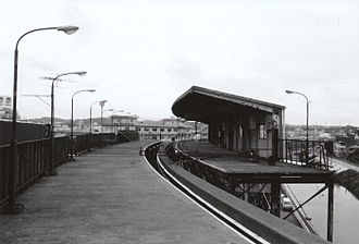 Ōfuna Station - Yokohama Dreamland Monorail platforms in June 1984