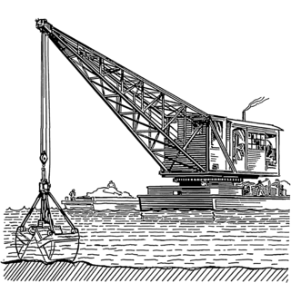 Dredging excavation of sediment, usually under water