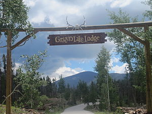 Grand County, Colorado - Scenic vehicle entrance to Grand Lake Lodge (established 1919), included on the National Register of Historic Places
