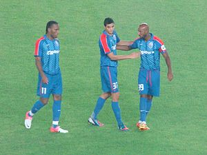 Shanghai Greenland Shenhua F.C. - Didier Drogba, Giovanni Moreno and Nicolas Anelka against Guangzhou Evergrande in July 2012.