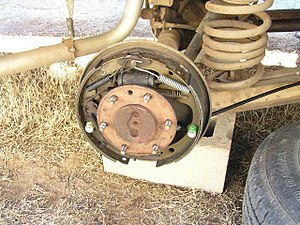 Drum brake - Drum brake with the drum removed, on the rear of Chevrolet pickup truck