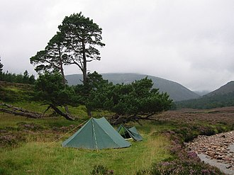 Munro - Campsite at Dubh-Ghleann, Glen Quoich, beside the river looking northwest to Beinn Bhreac.