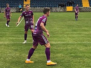 Dundalk players in action wearing 'third' colours in aid of Temple Street Children's University Hospital, 2019 Dundalk Third Kit 2019.jpg