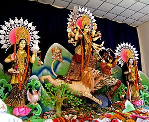 Religion in Bangladesh - Durga Puja celebrations in Dhakeshwari Temple, Dhaka