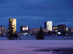 Downtown Regina at dusk