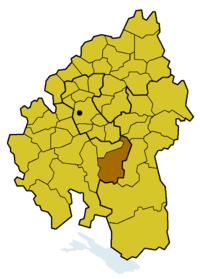 Location of the former church district Münsingen within the Evang.  Regional Church in Württemberg