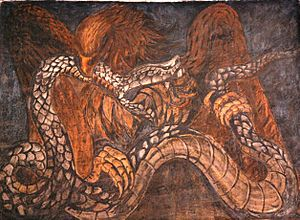 Mexican muralism - Eagle and snake image from the Colegio San Ildefonso project by Jean Charlot.