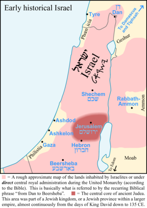 Map showing the location of Philistine land and cities of Gaza, Ashdod, and Ashkelon