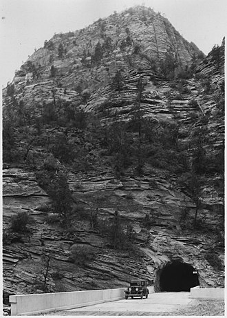 Zion – Mount Carmel Highway - The east portal of Zion Tunnel with approach bridge, 1929
