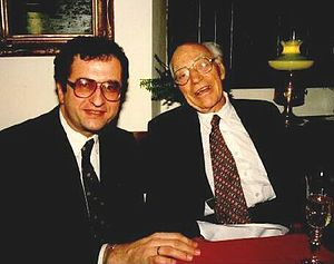 John Eccles (neurophysiologist) - John Carew Eccles (right) with Czech psychiatrist Cyril Höschl (left) in 1993