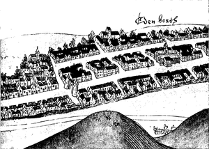 Society of Antiquaries of Scotland - Sketch of Edinburgh made in 1544 looking south, showing the Netherbow Port between the High Street and the Canongate; published in the Proceedings of the Society of Antiquaries of Scotland in 1933.