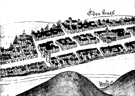 Sketch of Edinburgh in 1544 looking south, detail showing the Netherbow Port Edinburgh 1544.png