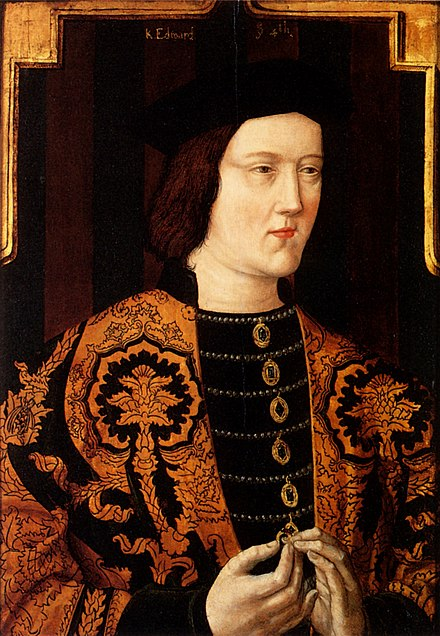 Edward IV c.1520, posthumous portrait from original c. 1470-75; it shows signs of the corpulence that affected him in later life Edward IV Plantagenet.jpg