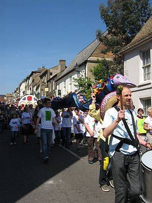 Ely, Cambridgeshire - Eel day carnival procession down Fore Hill, 2007