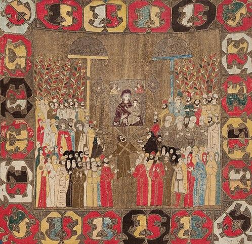 «Пелена Елены Волошанки». Вероятней всего, изображён торжественный выход великого князя Ивана III на вербное воскресенье 8.4.1498 года с семейством во время коронации Дмитрия Внука (сына Елены) соправителем.