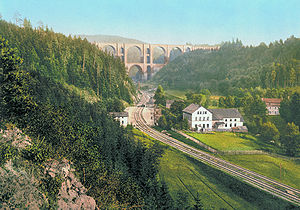Vogtland - Elster Viaduct on Leipzig–Hof railway (with Elster Valley Railway below) in 1900