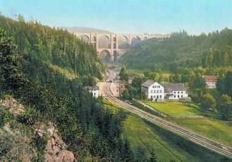 Vogtland - Elster Viaduct on Leipzig–Hof railway (with Elster Valley Railway below) in 1900