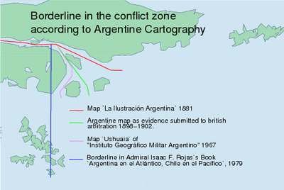 Summary of Argentine cartography since 1881 in the Beagle Channel. The named maps can be looked in the Beagle Channel cartography since 1881