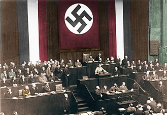 Enabling Act of 1933 - Hitler's Reichstag speech promoting the bill was delivered at the Kroll Opera House, following the Reichstag fire.