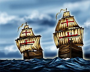 Battles of La Naval de Manila - The two merchant galleons—the Encarnacion and Rosario--which were hastily converted to warships to meet the superior Dutch armada of 18 vessels during the battles of La Naval de Manila in 1646. (From an artist's conception)