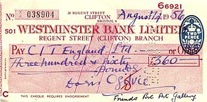 Westminster Bank - A cheque drawn on the Regent Street (Clifton) Branch of Westminster Bank, dated 14 August 1956.