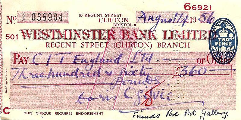 English 1956 Westminster Bank cheque of Doris Ogilvie.jpg