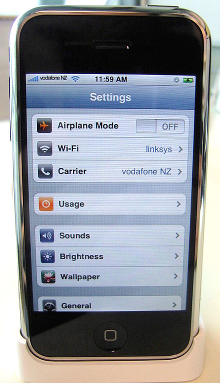 The first model of the iPhone (on the Vodafone network) Entsperrtes iPhone.jpg