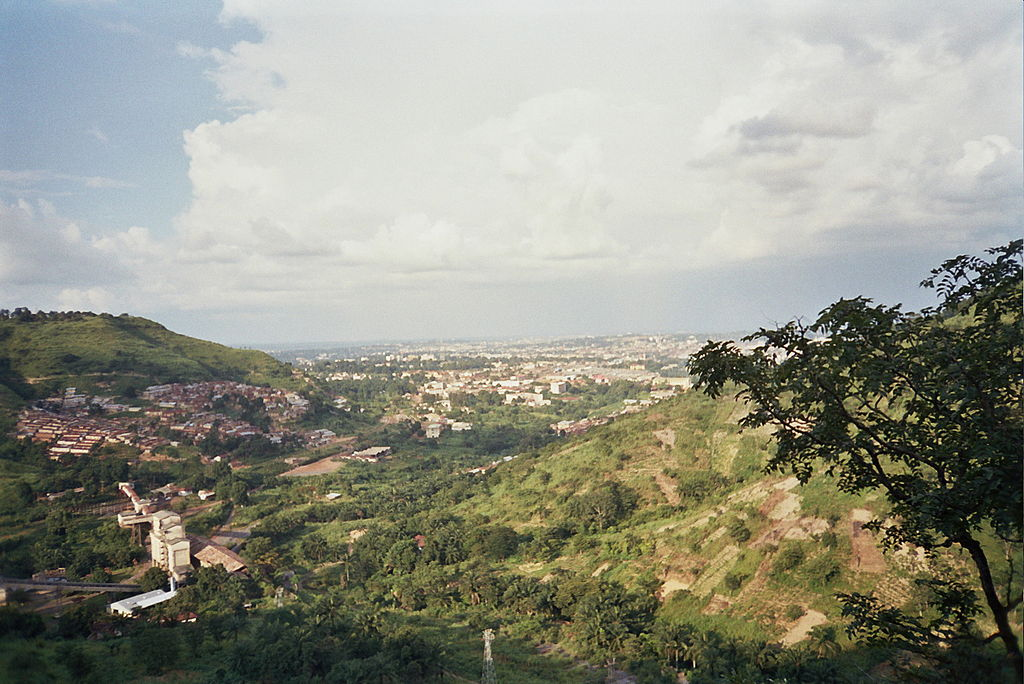 Photo of Enugu's Hills with the city straight ahead in the distance