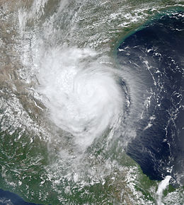 A view of Hurricane Erika from Space on August 16. The storm is at peak intensity, though unlike many other hurricanes, there is no defined eye feature. Erika is located over northeastern Mexico.
