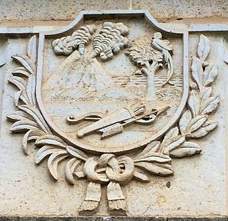 Los Altos (state) - The Coat of Arms of Los Altos, carved in stone on the grave of heroes in the Cemetery of Quetzaltenango.