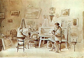 Fritz Melbye - Camille Pissarro: Melby and Pissarro in their studio in Carracas, c. 1854