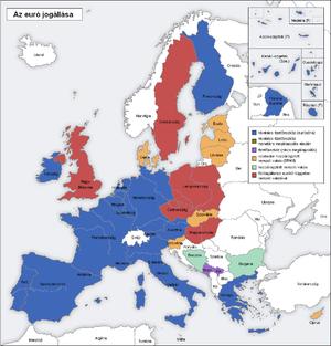 map of Europe; blue: Eurozone, green: monetary...